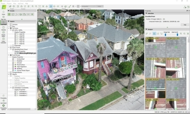 A drone-captured image of a Galveston-area home